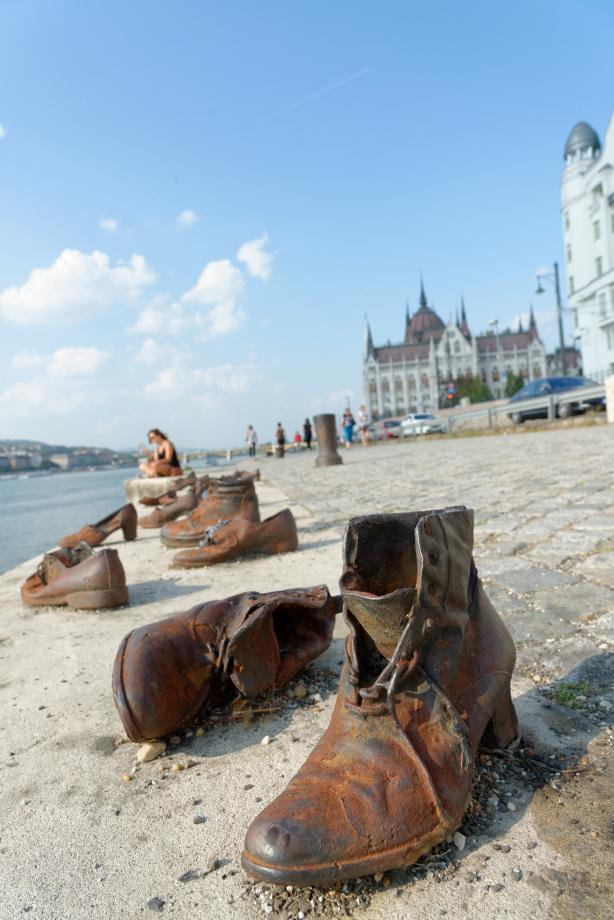 Bottes au Memorial Shoes à Budapest